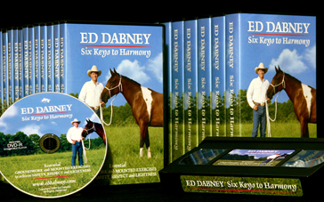 Ed Dabney Six Keys to Harmony horse training video. Essential ground and mounted exercises. DVD and VHS. 90 minutes in length. Order online.